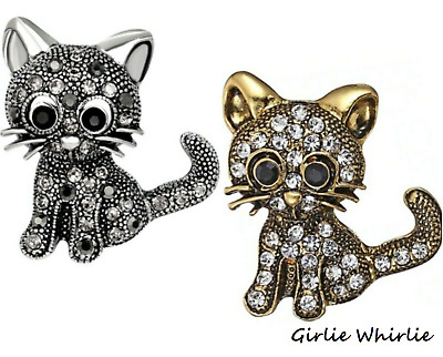 Cat Brooch Pin Badge Gift Silver Gold Jewellery Kitten Rhinestone Vintage Style • 3.25£