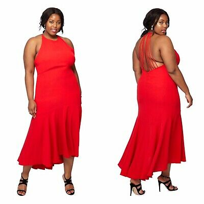 DEBUT Maxi Dress Size 16 Red Kylie High Neck High Low Prom Party Wedding Dress • 19.99£