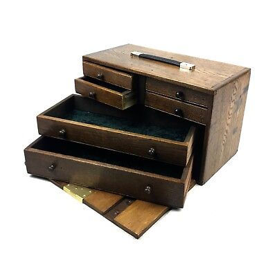 Antique Wooden Watchmakers Box / Cabinet / Collectors Chest Engineers Tool Case  • 210£