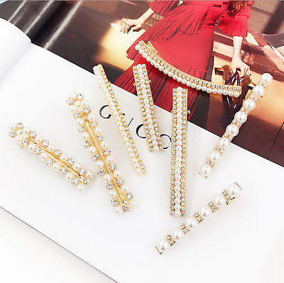 Women's Mixed Pearl Rhinestone Crystal Hair Clips Clamps Barrette Slides Hairpin • 1.65£