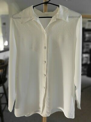 AU19.98 • Buy UNBRANDED White Vintage Blouse Size 10 | Top Shirt Cream Pattern Office Womens