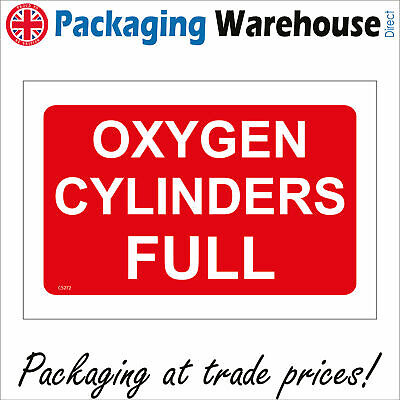 Cs272 Oxygen Cylinders Full Sign Air Cannister Empty Warning Caution Empty • 23.37£