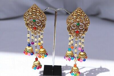 Gold Multi Colour Pearl Earrings Indian Light Weight Jewellery • 8£
