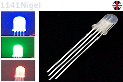 £1.99 • Buy 5MM 4PIN RGB LED Diffused Tri-Colour Common Cathode Red Green Blue