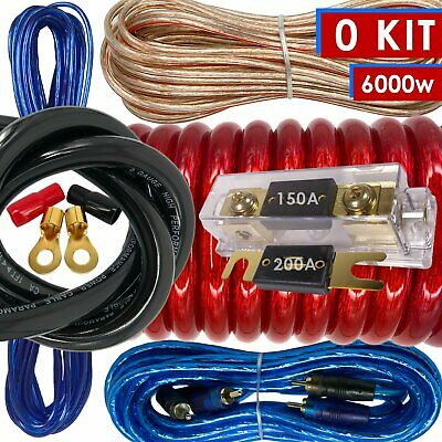 $41.99 • Buy XB Complete 0 Gauge Amp Kit Amplifier Install Wiring 0 Ga Wire Cable 6000W RED