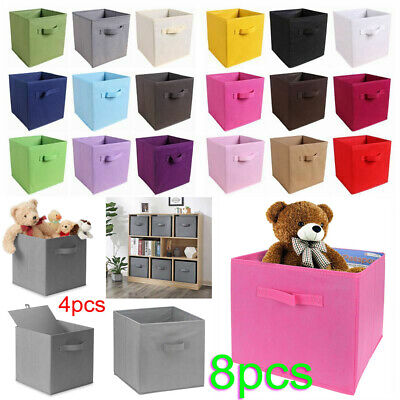 £8.95 • Buy 8X Foldable Canvas Storage Collapsible Folding Box Fabric Cube Cloth Basket Bag