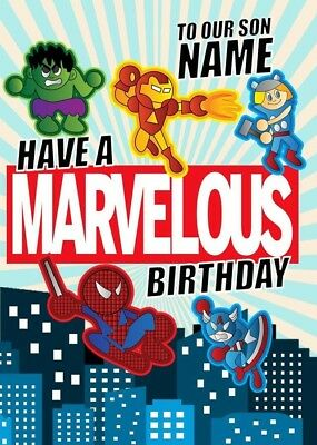 Personalised Iron Man/Hulk/Captain America/Spiderman/Thor/Avengers Birthday Card • 2.99£
