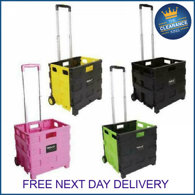Folding Boot Cart Shopping Trolley Fold Up Storage Box Wheels Crate Fordable  • 17.99£