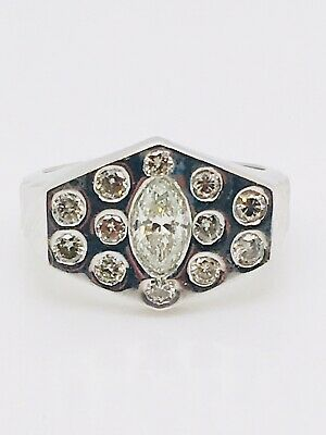 $795 • Buy Vintage 18 K White Gold Diamond Gypsy Ring With Marquises And Rounds