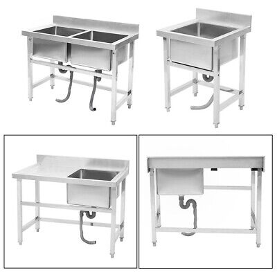 £239.95 • Buy Commercial Stainless Steel Deep Single / Double Pot Wash Catering Sink W Drainer