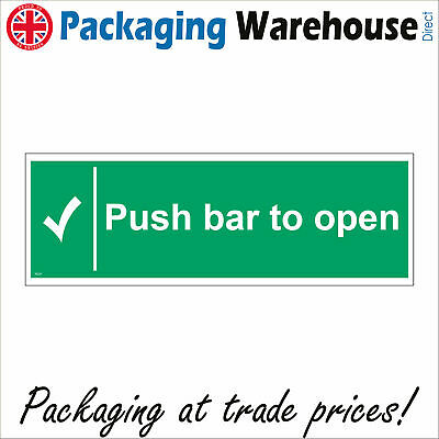 £2.95 • Buy Fs217 Push Bar To Open Sign Door Plaque Tick Automatic Button Bolt Workplace