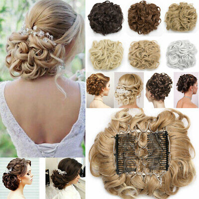 £11.20 • Buy UK Real THICK Curly Chignon Messy Bun Updo Clip In Hair Piece Natural Extensions