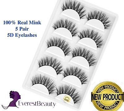 3D Mink Eyelashes Luxury 5 Pairs Wispy Thick False Long Layered Lashes Makeup UK • 3.96£