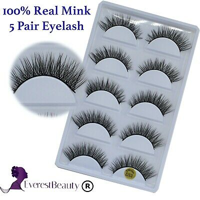 💙NEW 5Pair Mink False Eyelashes Wispy Cross Long Thick Soft Fake Eye Lashes UK • 3.98£