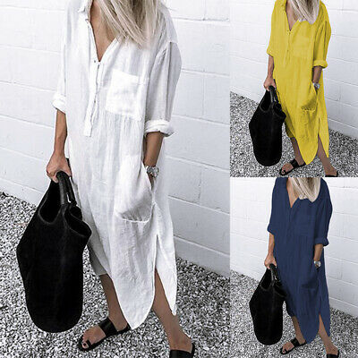 AU20.23 • Buy ZANZEA Women Long Sleeve Button Up Shirt Dress Kaftan Loose Baggy Oversized NEW