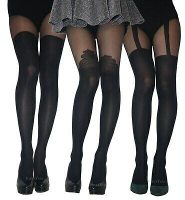 MOCK SUSPENDER STOCKINGS TIGHTS 40 / 20 DENIER  SIZE : S , M , L , New • 4.69£