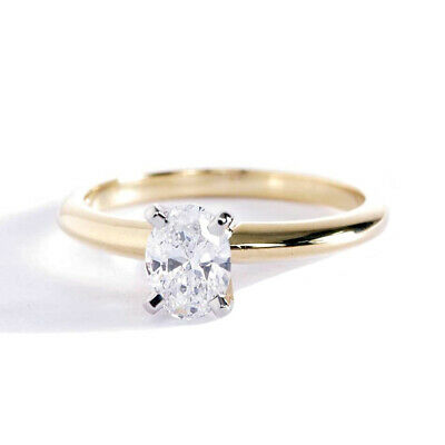 0.50 Ct SI2 F Oval Cut Classic Diamond Solitaire Engagement Ring 18K Yellow Gold • 980£