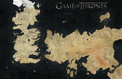 £11.99 • Buy GAME OF THRONES MAP LAND WESTEROS ESSOS ART REPRINT Wallpaper Size A1 A2