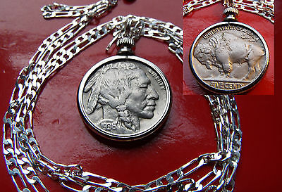 1936-1937 MINT FULL HORN BUFFALO Nickel On A  20  925 Sterling Silver Chain • 28.63£