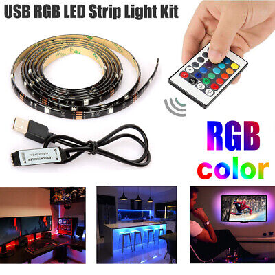 $8.95 • Buy 5V USB LED Strip Lights TV Back Light 5050 RGB Colour Changing With 24Key Remote