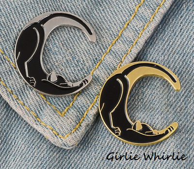 Cat Brooch Pin Badge Enamel Gift Crescent Moon Silver Gold Black Jewellery New • 3.50£