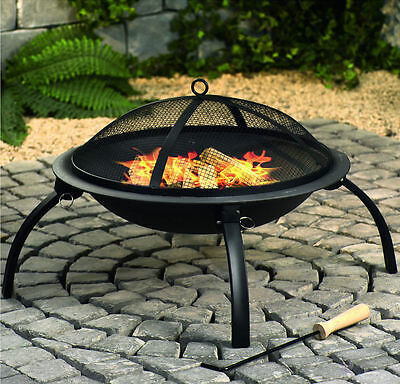 Black Fire Pit Steel Patio Garden Heater Outdoor Folding BBQ Foldable Camping • 36.90£