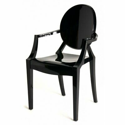 £84 • Buy Fusion Living Black Ghost Style Plastic Louis Armchair