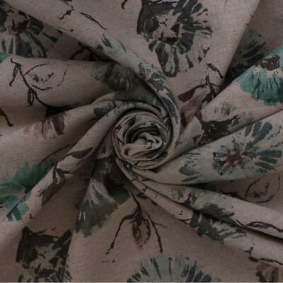 Alsace Duck Egg Floral Woven Linen Furnishing Upholstery Fabric • 8.99£