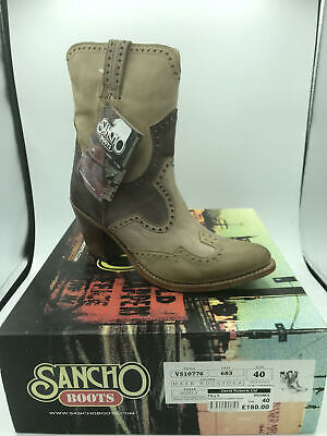 Sancho Womens Ladies Leather Goodyear Welted Mid Calf Pull On Cowboy Boots 6 7 8 • 77.99£