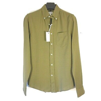 £16.28 • Buy GANT Rugger Mens Dobby Waffle Rip Stop Knit Button Shirt Olive Green (MSRP $145)