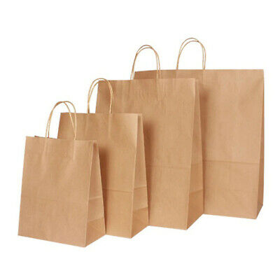 All Sizes Brown Paper Party Gift Fashion Bags With Strong Twisted Handles • 19.95£