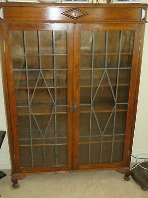 Oak Bookcase With Glass Doors • 250£