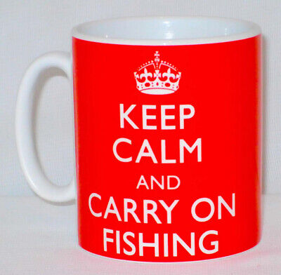 Keep Calm And Carry On Fishing Mug Can Personalise Great Fisherman Angler Gift • 9.99£