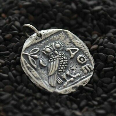 £35.99 • Buy Ancient Coin Charm Owl Of Athena 925 Sterling Silver Greek Mens Necklace 886