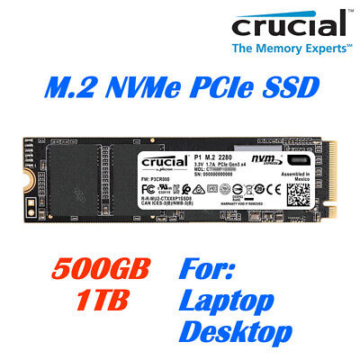 AU145 • Buy Crucial P1 M.2 NVMe PCIe Solid State Drive 500GB, 1TB SSD For Laptop Desktop PC