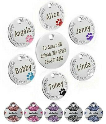 Personalised ENGRAVING Dog ID Cat ID Name Bling Tag Puppy Pet ID Tags UK • 3.65£