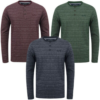 Tokyo Laundry Men Hoaden Crew Neck Long Sleeve T-Shirt Top Henley Grandad Collar • 14.99£