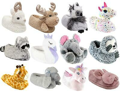 AU21.99 • Buy Womens Ladies 3D Soft Comfy Character Novelty Animal Unicorn House Slippers