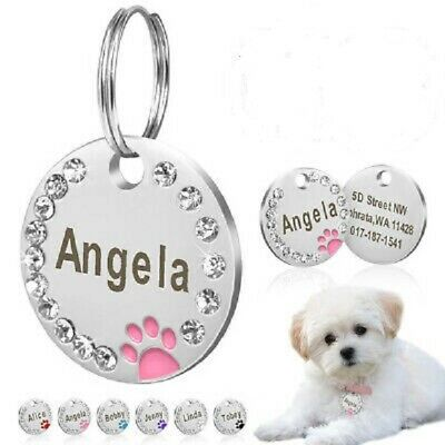 £3.99 • Buy  Personalised Diamonds ENGRAVING Dog ID Cat ID Name Bling Tag Puppy Pet ID Tags