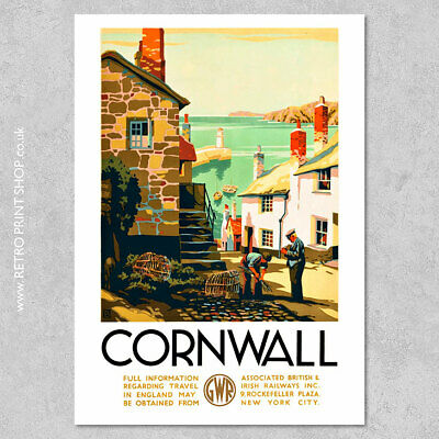 £7.50 • Buy GWR Cornwall Poster #2 - Railway Posters, Retro Vintage Travel Poster Prints