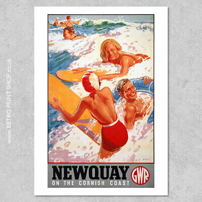 £3.50 • Buy GWR Newquay Poster - Railway Posters, Retro Vintage Travel Poster Prints