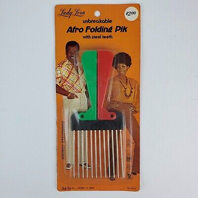 $19.99 • Buy Vintage NOS Lady Lora Folding Afro Hair Pick Green Red & Black 1970's USA Made