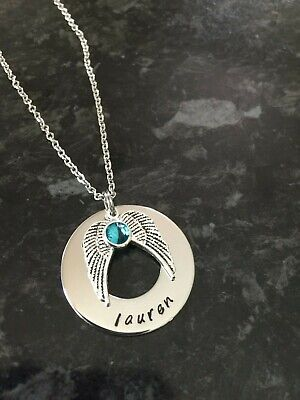 Hand Stamped Personalised Double Angel Wing Necklace With Birthstone. • 11.64£