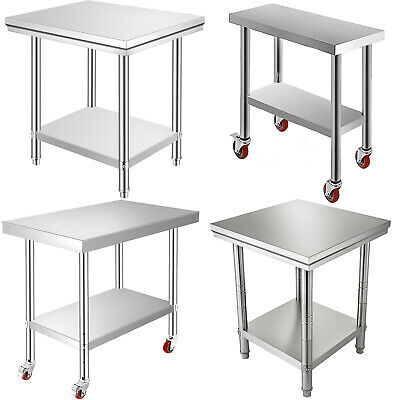 201 Stainless Steel Kitchen Work Bench Top Food Grade Catering Prep Table Wheels • 54.99£