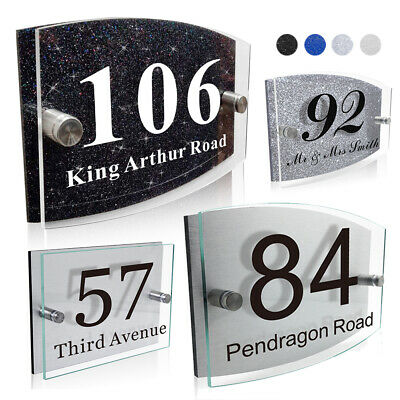 Modern House Sign Plaques Door Number Glass Effect Acrylic Aluminium Or Glitter • 7.99£