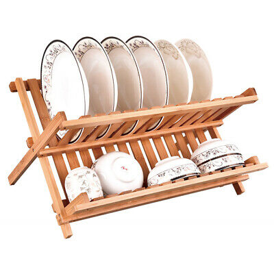 Bamboo Foldable Dish Drainer Wooden Plates Mugs Rack Stand Holder 2-Tier Folding • 12.57£