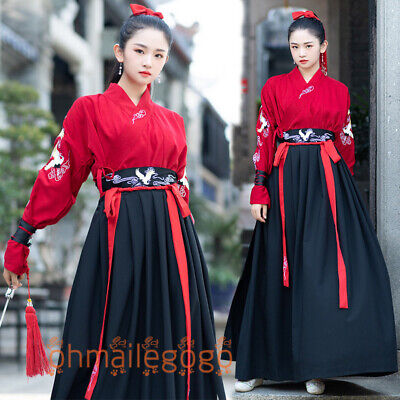 $ CDN72.27 • Buy Hanfu Women's Dress Red-crowned Crane Tops Skirt Han Cosplay Chinese Dress Party