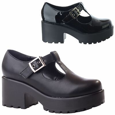 New Ladies Womens Chunky Mid High Block Heel T-Bar Platform Mary Jane Shoes Size • 22.99£