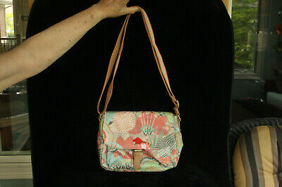 £25.50 • Buy New With Tag Oilily Colorful Floral Pattern Fabric Purse Peach Rose Shoulder Bag