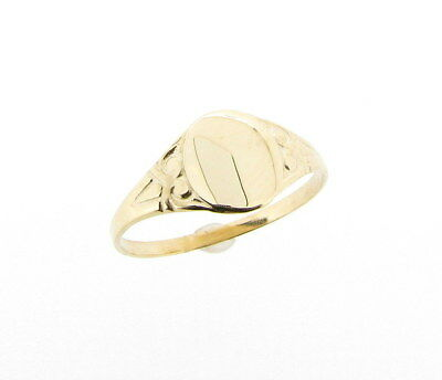 £46.99 • Buy Solid 9ct Yellow Gold Engraved Oval Signet Ring 375 Ladies Children's Pinky Ring